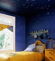 Glow Paint Spattered or Stenciled on Ceilings for Fun Night Effects - + Get 9 other ways to make your kids' rooms cool!