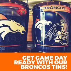 Broncos popcorn tins from Cornzapoppin