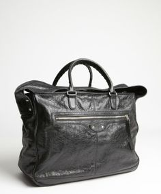 Balenciaga black distressed leather oversized bag