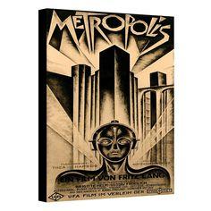 48'' x 36'' ''Metropolis'' Movie Poster Canvas Wall Art, Brown