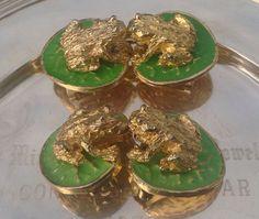 Frog Lilly Pad Earrings Belt Buckles Set Preppy 1970s