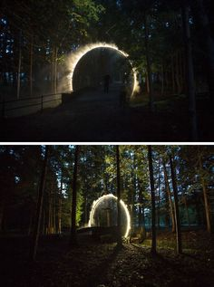 A Sculptural Arch Of Mist Has Been Installed In Japan Australian artist James Tapscott was commissioned by the Japan Alps Art Festival to great a site-specific art piece, which he named ARC ZERO - NIMBUS. Light Art Installation, Art Installations, Abstract Sculpture, Sculpture Art, Metal Sculptures, Bronze Sculpture, Landscape Architecture, Landscape Design, Landscape Lighting
