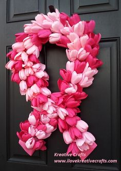Spring Wreath for Front Door - Breast Cancer Awareness Pink Tulip Wreath.  In honor of all the brave women warriors that have battled and survived or succumbed to this disease. This wreath is for you.  Kreative Crafts