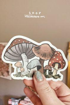 Diy Sticker, Sticker Ideas, Sticker Shop, Cute Laptop Stickers, Phone Stickers, Bumper Stickers, Mushroom Art, Bullet Journal Art, Ipad Art