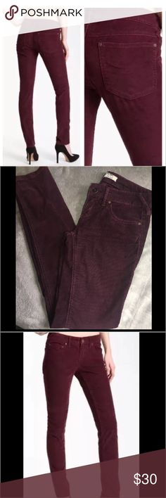 "Free people Skinny cords burgundy Excellent.no damage or flaws . Measurements.                                          7"" front rise 31"" inseam 14.5"" across at waist 5"" leg opening Free People Pants Skinny"