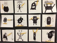 Apex Elementary Art: Pencil Monsters. Draw a monster using pencil stubs. Great end of year project.