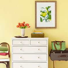 Stash your excess stuff in lidded boxes or bins, which can be left out or temporarily tucked away. Pick up inexpensive luggage racks so boarders can easily access clothes; set out towels, and extra blankets and pillows, ahead of time. Then add the universal welcome sign: fresh flowers.  Read more: Guest Room Ideas - Create the Perfect Guest Room - Good Housekeeping