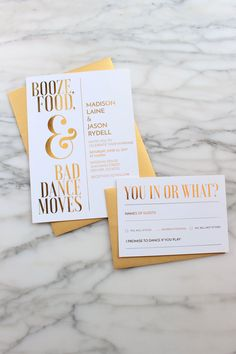 Gold Foil Wedding Invitation Suite // Custom Wedding Invitations // Funny Wedding Invitations // Unique Wedding Invitations // Song Request - March 02 2019 at Elegant Wedding Invitations, Wedding Invitation Design, Wedding Programs, Wedding Venues, Unique Invitations, Invitation Cards, Cricut Wedding Invitations, Invitation Wording, Unique Wedding Stationery