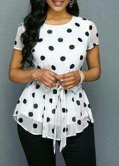 trendy tops for women online on sale Polka Dot Blouse, Polka Dot Print, Polka Dots, Polka Dot Outfit, Office Dresses For Women, Clothes For Women, Couture Sewing Techniques, Chic Outfits, Blouse