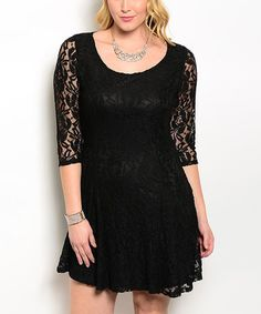 Another great find on #zulily! Black Lace Dress - Plus #zulilyfinds
