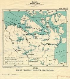 Map of Eskimo trade routes, Northern Canada, 1914.