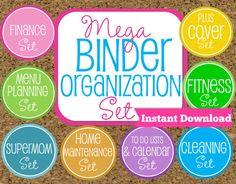 INSTANT DOWNLOAD Home Binder Mega Kit- Family Binder Organization Set-8 Sets Included-Instant Download via Etsy