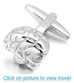 JBlue Jewelry Men's Rhodium Plated Cufflinks Silver Brain Shirt Wedding Unique Polished (with Gift Bag)
