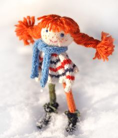 Pippi Longstocking knitted wool doll - Pippi Longstocking - knitted doll - doll Pippi - beautifull doll - wool doll by elvesworld on Etsy https://www.etsy.com/listing/270069505/pippi-longstocking-knitted-wool-doll