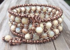 Faceted White Opal Gemstone and Antiqued Copper Memory Wire Wrap Bracelet