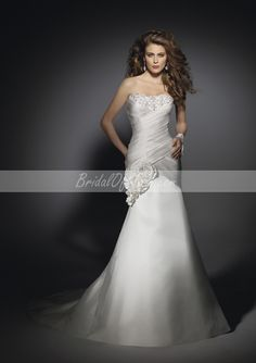 bridalofmall.com Offers High Quality Breathtaking Strapless Floor Length Trumpet/Mermaid Wedding Dress With Handmade Flowers ,Priced At Only US$245.00 (Free Shipping)