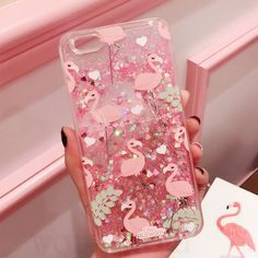 Pink Glitter Flamingo - Liquid Skinny Dip Phone Case Cover For Iphone 6 6S 7
