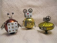 recycled ornament robots - great craft for boys