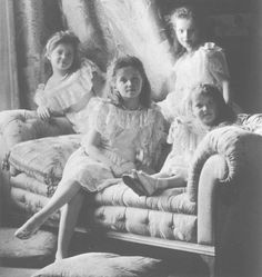The Grand Duchesses Olga, Tatiana, Marie and Anastasia Romanov—Anastasia is aged three years, therefore dating the image at around 1904.  They are what started my love of Russia.