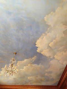 sky ceiling mural details — Warner V Graves Ceiling Painting, Ceiling Murals, Bedroom Ceiling, Faux Painting, Ceiling Decor, Ceiling Design, Ceiling Panels, Ceiling Ideas, Mural Painting