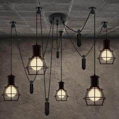 Custom-Cage-Vintage-Edison-lamp-Chandelier-ceiling-Industrial-Modern-light-bulb