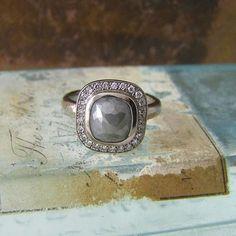 Grey Rose Cut Diamond Ring