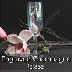 $20.00    Personalised Engraved Champagne Glass Flute Wedding Bomboniere Favour Gift Wine