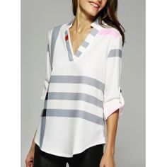 SHARE & Get it FREE | V Neck Color Block BlouseFor Fashion Lovers only:80,000+ Items • FREE SHIPPING Join Twinkledeals: Get YOUR $50 NOW!