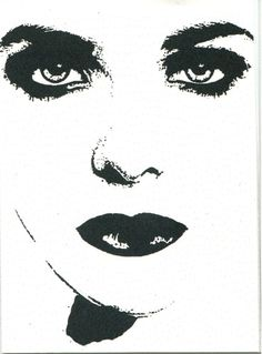 vampire woman face sexy goth sci fi horro original black & white art aceo print