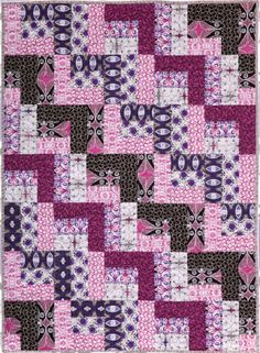 Thank you to Westminster Fibers - Free Spirit, for special permission to publish these fabulous patterns. The Calypso Swing Quilt by Ellen Maxwell features fabr Quilting Projects, Quilting Designs, Sewing Projects, Quilting Ideas, Strip Quilts, Easy Quilts, Quilt Block Patterns, Quilt Blocks, Purple Quilts
