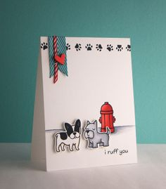 """Lawn Fawn - Critters at the Dog Park stamps and dies _ Fabulously cute card """"I ruff you"""" by yainea"""