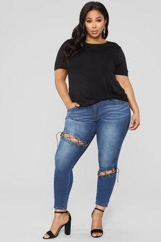 4ad0d725d0fc4  14.99 Brandi Twist Front Tee shirt- Black plus size Fashion Nova Tee  Shirts