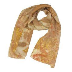 """Leaf Print Silk Scarf 14, shiny lightweight habotai, 8"""" x 50"""""""