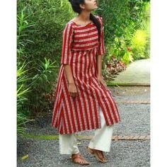 The Secret Label Red Cotton Striped Kurti #kurtilover #kurtis #kurtidress #kurtibazar Kurta Designs Women, Kurti Neck Designs, Dress Neck Designs, Salwar Designs, Blouse Designs, Red Kurti, Kurti With Jeans, Kurta Patterns, Kurti Styles