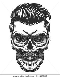Monochrome illustration of skull with mustache, hipster haircut and glasses with transparent lenses. Isolated on white background