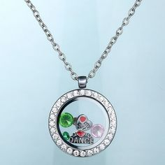 Round magnetic glass floating charm locket memory Locket Necklace ($2.33/min. $10.00 order)
