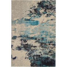 Nourison Celestial Ivory Teal Blue Rectangular Indoor Machine-Made Bohemian/Eclectic Area Rug (Common: 2 X Actual: Teal Blue, Blue And White, Saturated Color, Rugs Online, Power Loom, Runes, Blue Area Rugs, Colorful Rugs, Rug Size