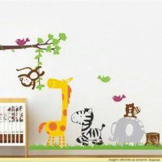 adesivos de parede safari com girafa zebra hipopotamo e macaco