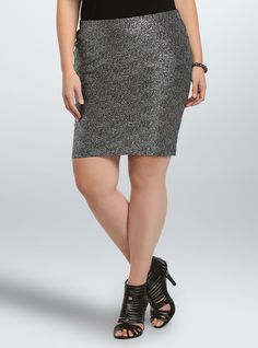 """<p>Shimmer, dazzle, glimmer, this skirt is gonna light up any look. Crinkled silver tone metallic sparkles on the super-stretchy black mini skirt. Perfect for a party and totally radiant, this look may blind once the sun comes up.</p>  <ul> <li>Size 1 measures 19 1/4"""" from center front</li> <li>Polyester/spandex</li> <li>Hand wash cold, dry flat</li> <li>Imported plus size skirt</li> </ul>"""