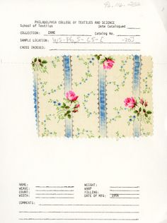 Floral & stripe print on cotton. Early 20th century. Unknown manufacturer.