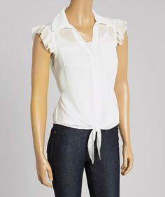 Another great find on #zulily! Off-White Lace Cap-Sleeve Button-Up by Red Fox #zulilyfinds