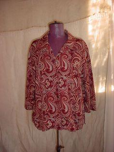 Brown Paisley Blouse Top size 1X or XL Button Down Shirt #Handmade #ButtonDownShirt #Career
