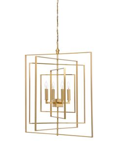 This lovely cube chandelier features an antique brass finish. The chandelier has four lights and measures 30