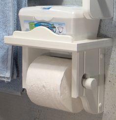 White Toilet Paper Holder with Shelf von jahnjed auf Etsy, $26.95