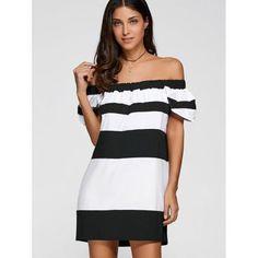 Off The Shoulder Color Block Striped Dress