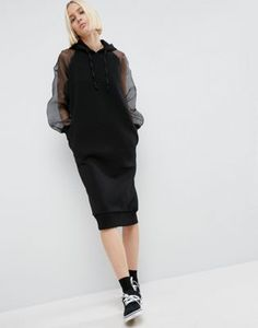 ASOS WHITE – Pulloverkleid mit Kapuze und Organza-Ärmeln