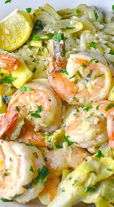 Creamy Meyer Lemon Shrimp Scampi with Artichokes Recipe ~ Zesty and creamy