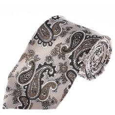 FLATSEVEN Mens Classic Paisley Pattern Neck Tie (YA015) Beige at... (24,850 KRW) via Polyvore featuring mens, men's accessories, men's neckwear and ties