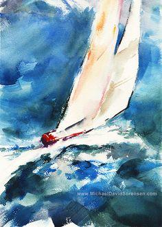 White Sails - Sailboat Watercolor Art Print by Michael David Sorensen. Abstract Watercolor, Watercolor Paper, Watercolor Paintings, Nautical Artwork, Sailboat Painting, Used Sailboats, Boat Art, Acrylic Art, Fine Art Paper