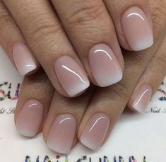 Ombre nails are everywhere these days. Ombre nails are eye-catching and personalized, and can be subtle as you want. I like a soft pastel ombre fade that is suitable for everyday use or glitter ombre nails for special occasions such as weddings. Simple Wedding Nails, Wedding Nails Design, Natural Wedding Nails, Simple Nails, Pretty Nails, Cute Nails, My Nails, French Nails, Gel French Manicure